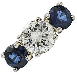 2.95 Carat 14K White Gold Classic Diamond Sapphire Three Stone Ring Size 5.25