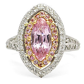 Barry Kronen 18 Karat Gold Pink Sapphire Diamond Statement Ring