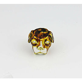 18K Yellow Gold Enamel Diamond Ring Size 6