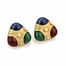 Omega 14K Yellow Gold Enamel Earrings