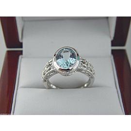14K White Gold Topaz, Diamond Ring Size 7.5