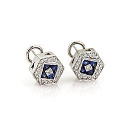 Omega 18K White Gold Diamond, Sapphire Earrings