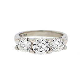 Roberto Coin Cento 18k White Gold Diamond Three Stones Engagement Ring