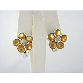 Omega 14K White Gold Citrine, Diamond Earrings