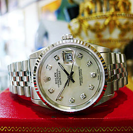 Mens Rolex Datejust Diamond Dial Stainless Steel Gold Watch