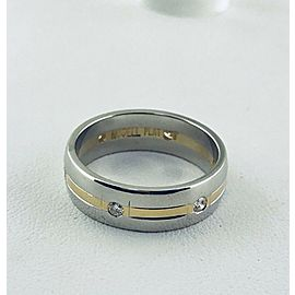 18K Yellow Gold, Platinum Diamond Wedding Ring Size 9