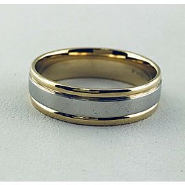 18K Yellow Gold, Platinum Wedding Ring Size 11.75