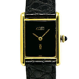 Cartier Must De Tank Womens Hand Wind Watch Silver Gold Plated Black Dial 23mm