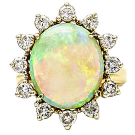5.01 Carat Natural Australian Opal and Diamond 14k Gold Statement Ring