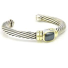 David Yurman Sterling Silver 14k Gold Hematite Noblesse Cable Cuff Bracelet