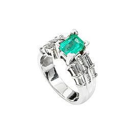 14K White Gold 1.05Ct HVS1 Diamond 1.23Ct Emerald Band Ring 9.1 Grams Size 6.5