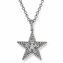 0.47 CT Diamonds 14K White Gold Star Pendant Necklace Size 16""