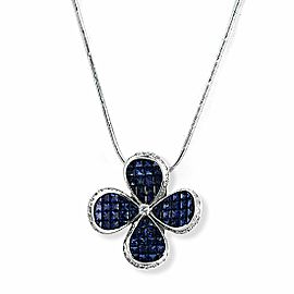 0.70 CT Diamonds 12.67 CT Invisible Blue Sapphire 14K White Gold Flower Necklace
