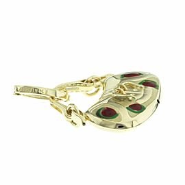 Italy 14 K Yellow Gold Enamel Purse Bag Charm Pendant