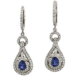 1.12 Carat 18Kt White Gold Diamond Sapphire Drop Earrings