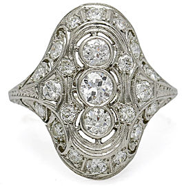 1.75 Carat Art Deco Diamond Platinum Filigree Dinner Ring
