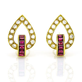 1.82 Carat 18k Yellow Gold Diamond Ruby Earrings
