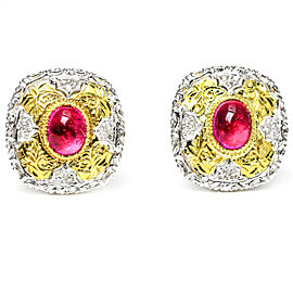 4.56 Carat 18 Karat Gold Pink Tourmaline Diamond Earrings