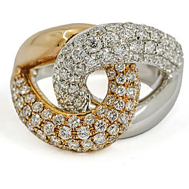 2.33 Carat 18 Karat Gold Diamond Interlocking Links Ring