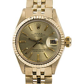 Rolex Datejust 6917 Womens Automatic Watch Champagne Dial Jubilee 18K YG 26mm