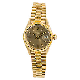 Rolex Date 6927 Rare Bark Womens Automatic Watch Gray Dial 18K Yellow Gold 26mm
