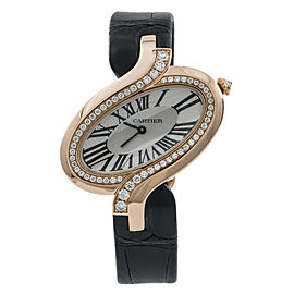 Cartier Delices 3379 WG8000006 Womens Quartz Watch Factory Diamond 18k Rose Gold