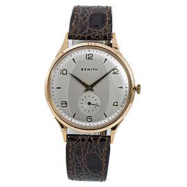 Zenith Sporto 467189 Mens Vintage Hand Winding Watch 18K Rose Gold 37mm