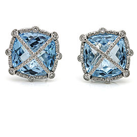 1.00 Carat 18k White Gold Blue Topaz Diamond Stud Earrings