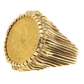 14k Yellow Gold 1889 $2 1/2 US Liberty Coin Ring 15.7 Grams Size 7.5