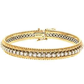 "14k Yellow Gold Diamond Tennis Chevron Links 3ct 7"" 26.4 Grams"