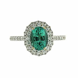 1.28 CT African Emerald & 0.79 CT Diamonds in 18K White Gold Engagement Ring