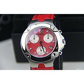 MOVADO SWISS CHRONOGRAPH QUARTZ WATCH 84C51892 CORAL ALLIGATOR