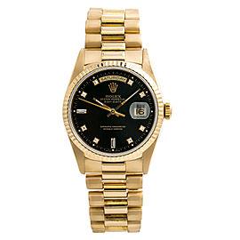 Rolex Day-Date President 18238 Mens Watch Factory Diamond Black Dial 36mm