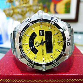 Tag Heuer Caf1011 Yellow Dial Aquaracer Quartz Digital Chronotimer S.S. Watch