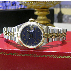 Ladies Rolex Oyster Perpetual Datejust Gold Stainless Steel Roman Numerals Watch