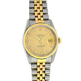 Rolex 16233 Two Tone Datejust Factory Diamond Dial Watch