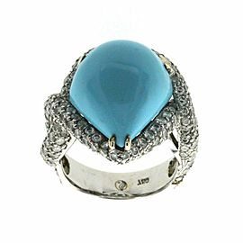 12.14 CT Natural Turquoise & 1.86 CT Diamonds in 18K Gold Cocktail Ring