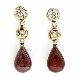 27.46 CT Natural Carnelian & 0.86 CT Diamonds in 18K Rose Gold Drop Earrings