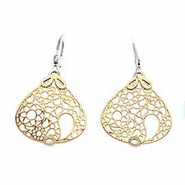 0.42 CT G SI1 Diamonds in 18K Rose & White Gold Teardrop Drop Earrings