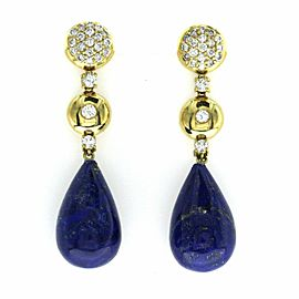 36.41 CT Natural Lapis & 0.86 CT Diamonds in 18K Yellow Gold Drop Earrings