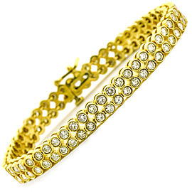 6.55 Carat 14k Yellow Gold Two Row Diamond Tennis Bracelet