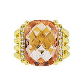 David Yurman 18k Yellow Gold Morganite and Diamonds Wheaton Ring