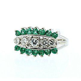 14K WHITE GOLD LADIES EMERALD DIAMONDS RING SIZE 4