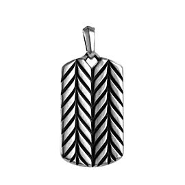 DAVID YURMAN AMAZING SOLID STERLING SILVER 39mm MODERN CHEVRON DOG TAG
