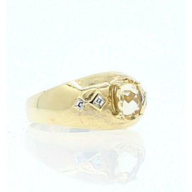 14K YELLOW GOLD OVAL YELLOW TOPAZ DIAMONDS LADIES RING SIZE 8.5