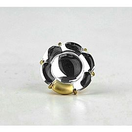 BACCARAT JEWELRY B FLOWER VERMEIL SILVER CLEAR MIRROR LARGE RING SZ 5,5 (51)