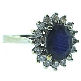 NEW 14K WHITE GOLD LADIES Tanzanite and DIAMOND RING SIZE 7