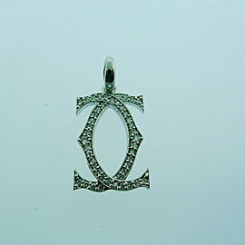 "14k White Gold Diamond ""CC"" Pendant Charm"