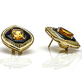 14k Yellow Gold Citrine Onyx Diamond Stud Earrings