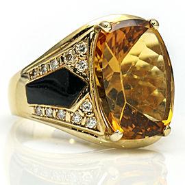 14k Yellow Gold Citrine Onyx Diamond Retro Fashion Ring